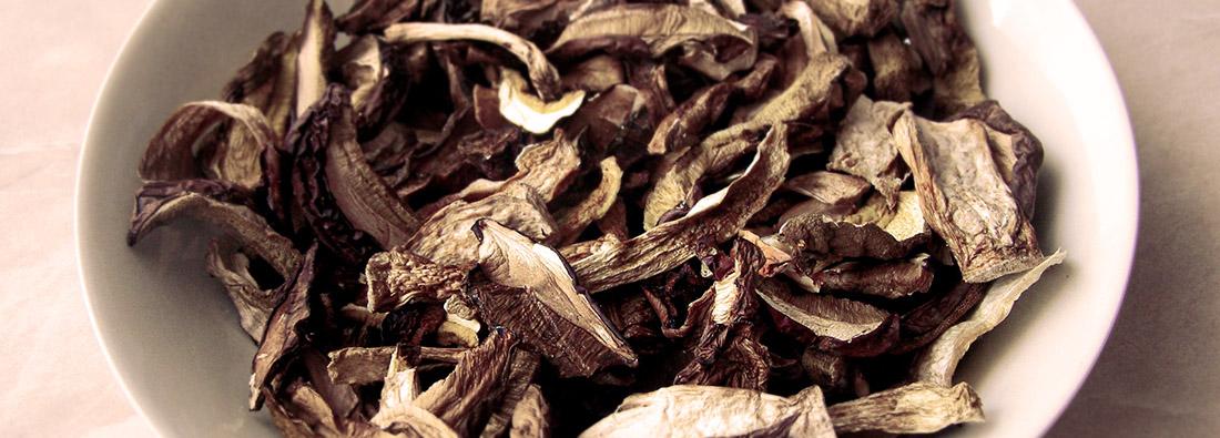 champignons secs déshydratés