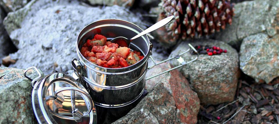 nourriture popote camping bushcraft forêt