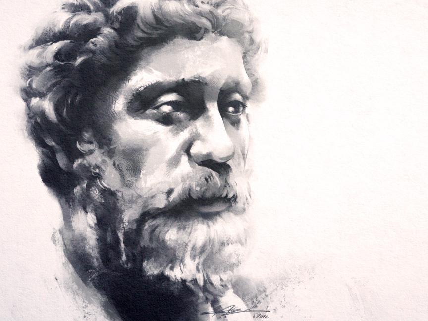 portrait dessiné de marc aurèle